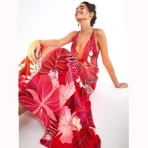 Farm Rio Philipa Maxi Dress Leaf Printed Boho